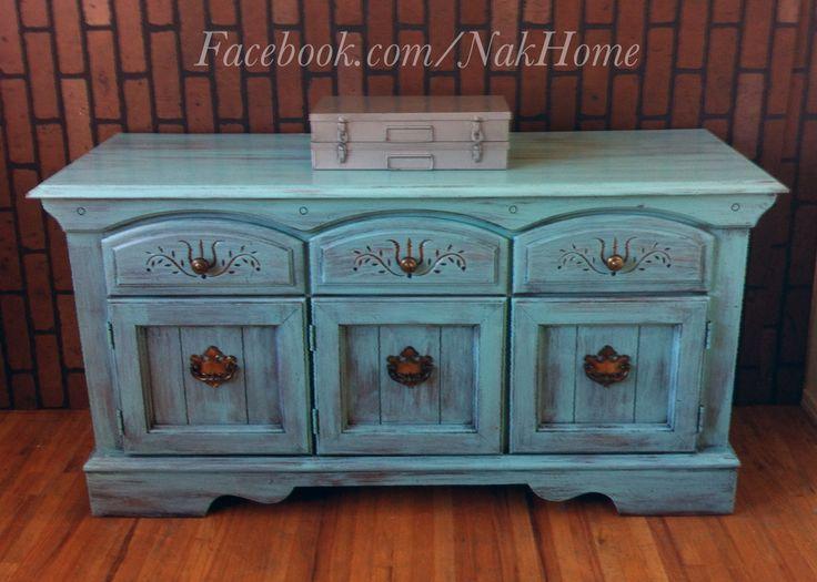 Furniture Upcycle Shabby Chic Turquoise Blue Vintage