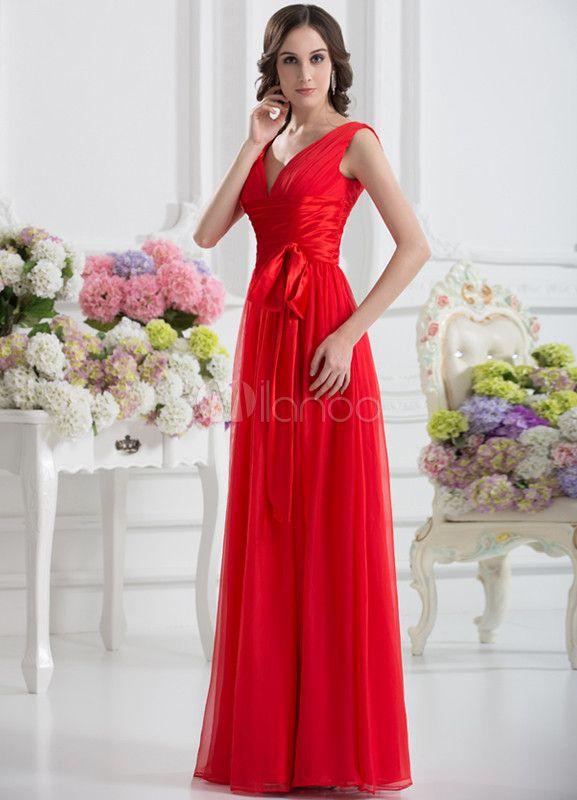 Vestido de fiesta de color rojo con escote en V de línea A