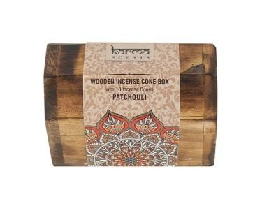 Karma Incense Cones - This karma incense set comes complete with wooden box and 10 incense cones.  This would make an ideal gift and is designed to be able to hold the incense cone within it whilst it burns.