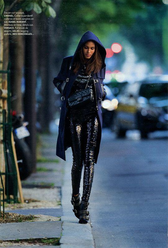Mes Demoiselles... Paris • Rocker Leggins • ELLE France • September 2016 #mesdemoiselles #FW16 #leggins #sequins #look #party #mesdemoisellesparis