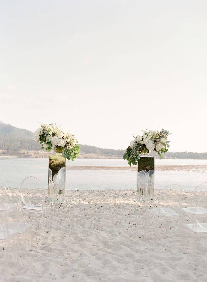 La Playa Carmel By The Sea wedding ceremony: http://www.stylemepretty.com/2017/01/25/the-most-stunning-al-fresco-wedding-by-the-sea/ Photography: Jose Villa - http://josevilla.com/