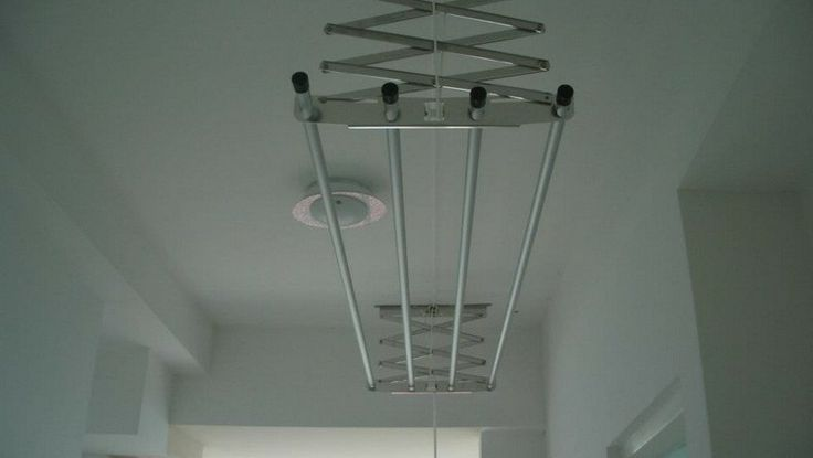 Laundry retractable clothes line/rack ... attached to ceiling instead of wall !