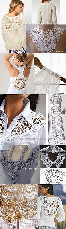 ideas blusas tela+crochet