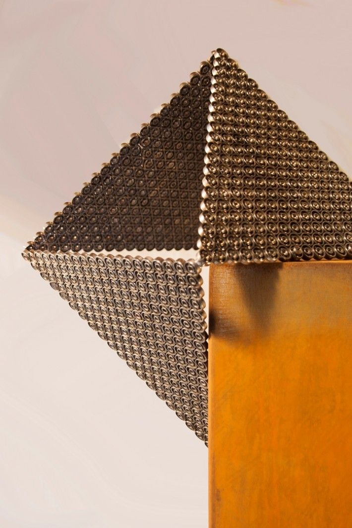 Artwork PM1 is made of a combination of used industrial materials and corten steel | Lebesque Design