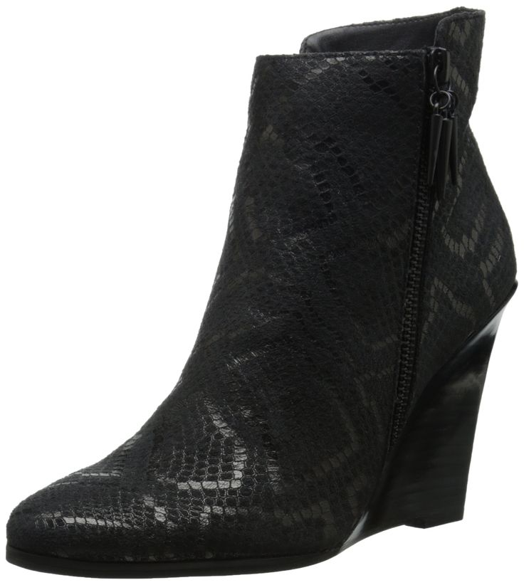 """Fergie Women's Aurora Wedge Pump, Black, 7 M US. Heel Height: 4"""". Shaft Height: 2"""" (Size 6). Circumference: 10"""" (Size 6). Origin: Imported. Fit: True to Size."""