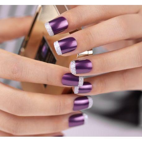 Bling Art False Nails French Manicure Purple 4 Joy Full Cover Medium Tips UK