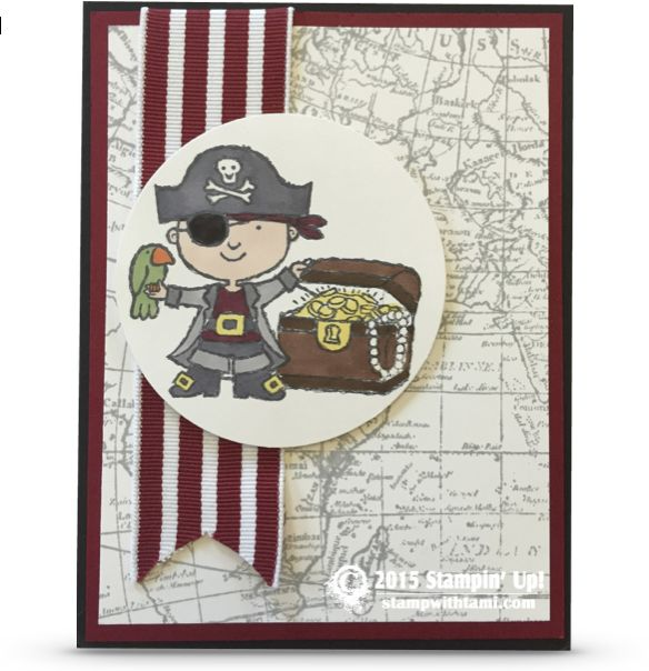 "Going outside the box with this super cute Pirate Card from the ""Hey, Valentine"" stamp set in the Stampin Up Occasions Catalog. The pirate is colored with STampin Write markers, the background is the World Map."