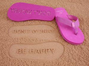 Pink Imprint Flip Flops : Don't Worry Be Happy  $24.95