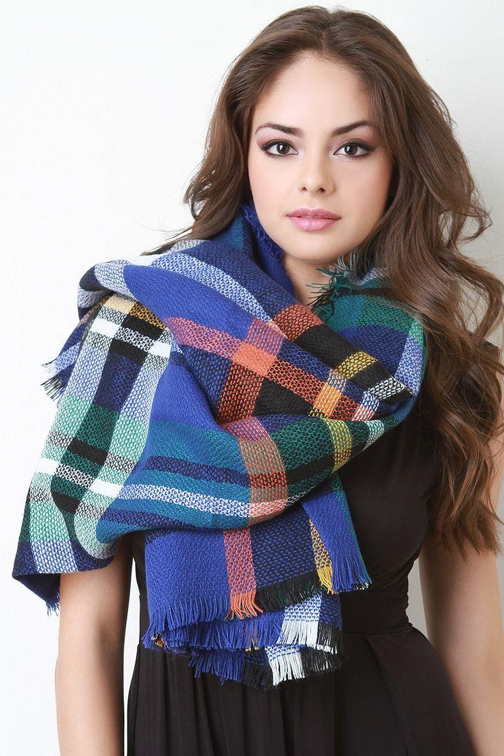 Multi Colored Frayed Hem Plaid Blanket Scarf