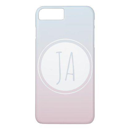 Girl's Stylish Monogram Initials Simple Ombre iPhone 8 Plus/7 Plus Case - initial gift idea style unique special diy