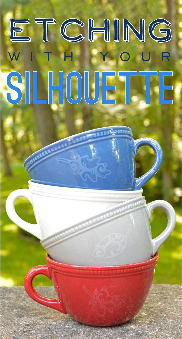 Did you know that you can use your Silhouette Etching Cream to etch more than just glass?   What You'll Need:  Ceramic mugs Stencil Vinyl Etching Cream Silhouette CAMEO® Hook Tool Scraper Tool