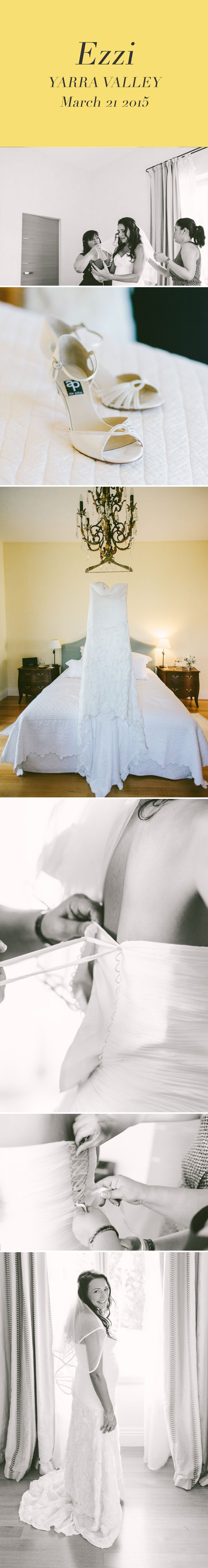 Getting ready: putting on the wedding dress