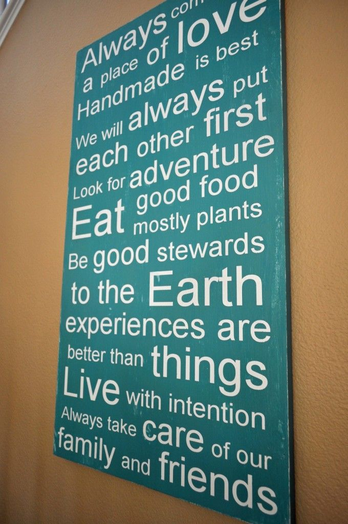 Yet another excellent example of a Family Mission Statement - Laura Bray Designs