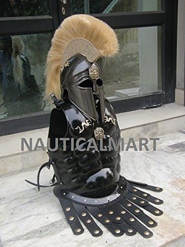 GREEK CORINTHIAN HELMET WITH MUSCLE ARMOR IN BLACK ANTIQUE by MEDIEVAL COLLECTION. GREEK CORINTHIAN HELMET WITH MUSCLE ARMOR IN BLACK ANTIQUE.