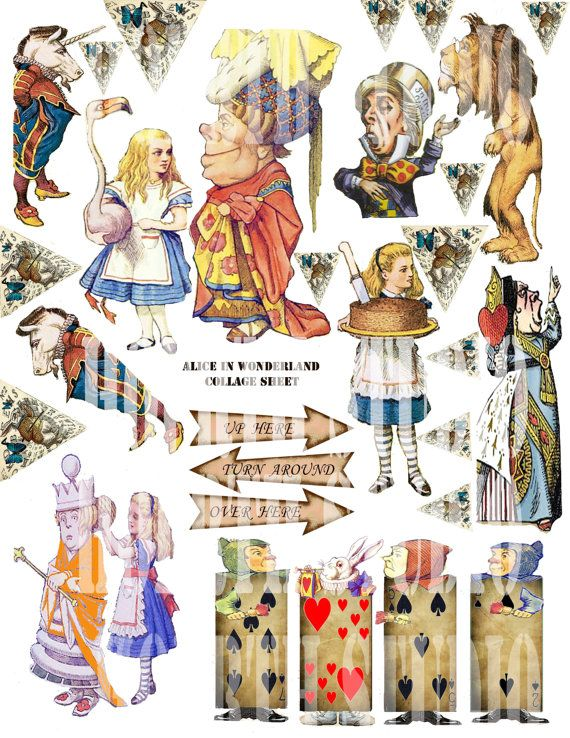 Alice in wonderland collage sheet