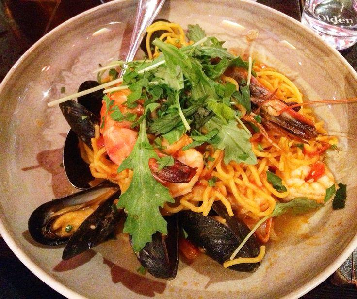 Seafood Bergen restaurant jacobaal Norway mussels pasta shrimps