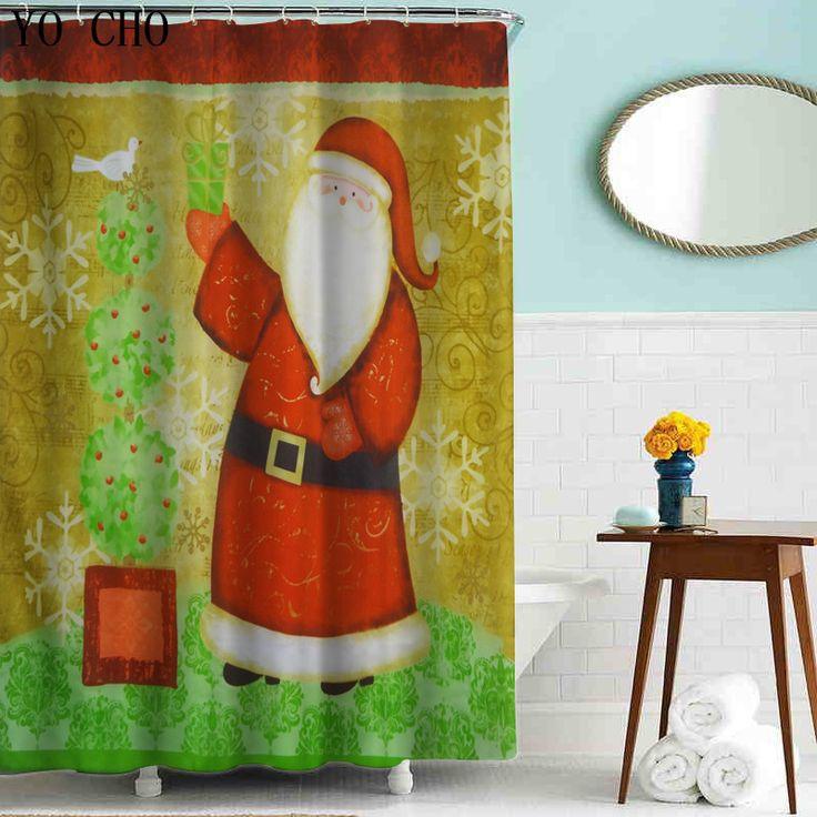 Por Mayor acabado CAT Santa Deer ducha cortinas decoración de Navidad para el hogar ecológico cortinas de baño de tela de poliéster