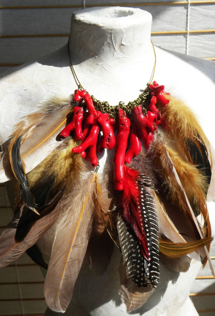 Feather necklace, made for fashion designers by Elena Gutierrez Giulianotti.