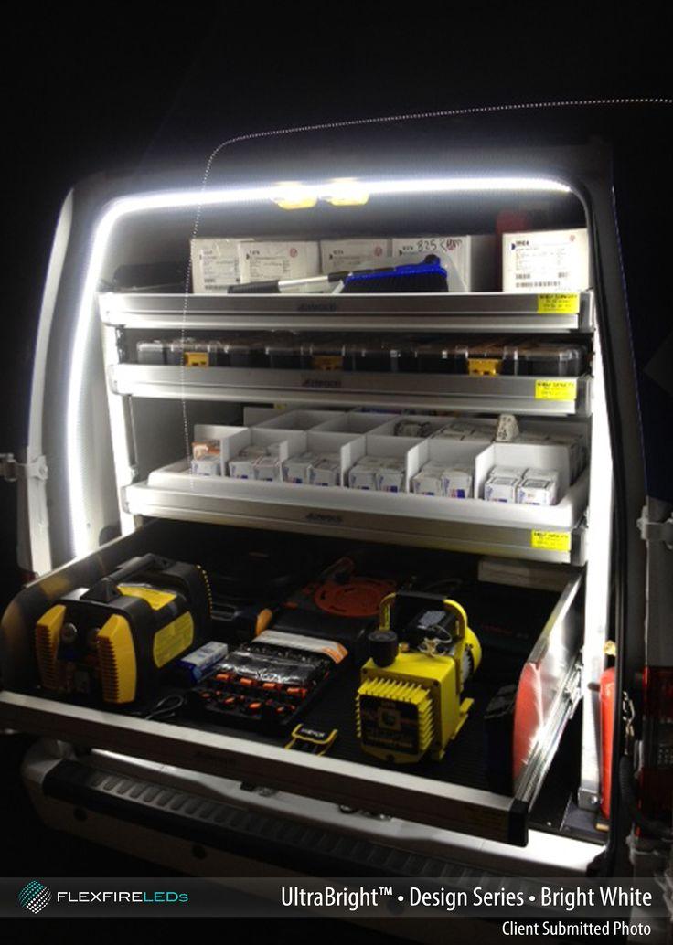 LED strip lights brighten up this work van making all the tools easier to find. #tasklighting