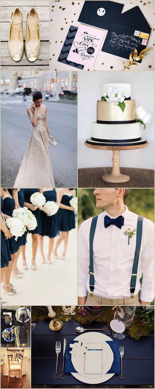 Una elegante e impecable combinación para boda azul marino y dorado