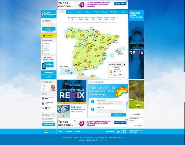 Colaboración en la maquetación de la imagen renovada del portal líder en previsiones del tiempo en España.  Collaboration in the layout of the new image of the leading portal for forecasting weather in Spain. eltiempo.es  www.eltiempo.es