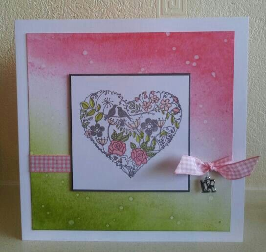 A simple brayered background for the beautiful Claritystamp Garden Heart.
