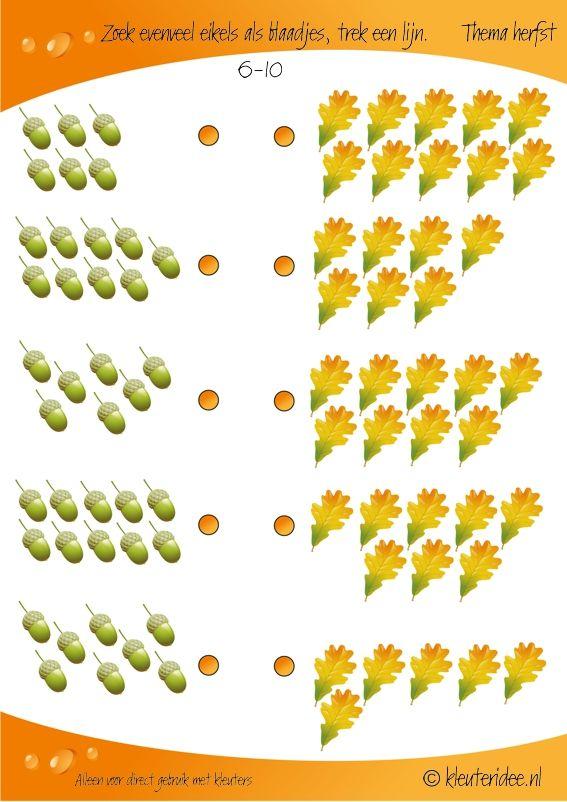 Zoek evenveel eikels als blaadjes 6-10, kleuteridee, rekenen thema herfst, Looking as many acorns as leaves, preschool math, free printable.