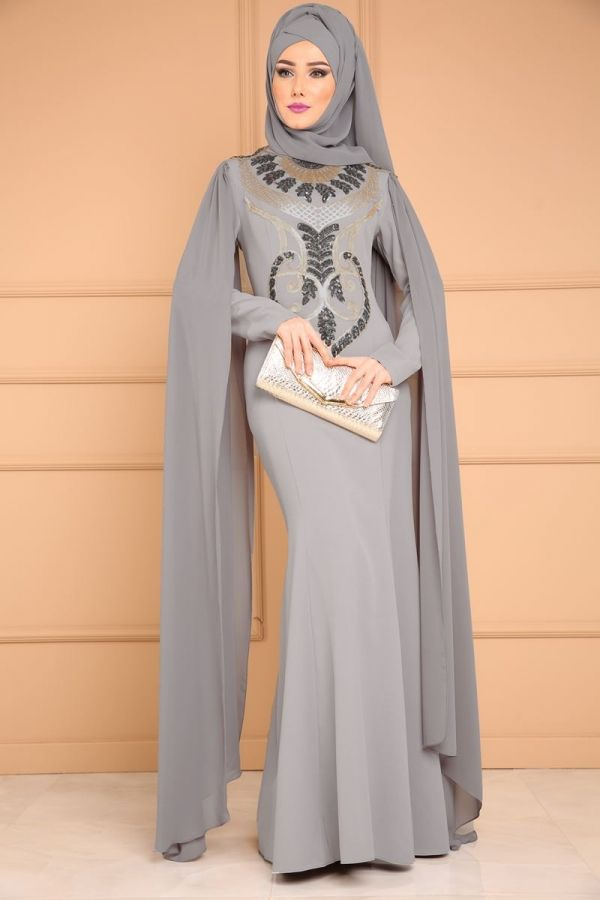 Yeni Urun Kollari Pelerinli Balik Abiye Gri Urun Kodu Alm52688 194 90 Tl Aksamustu Giysileri Moda Stilleri Islami Moda