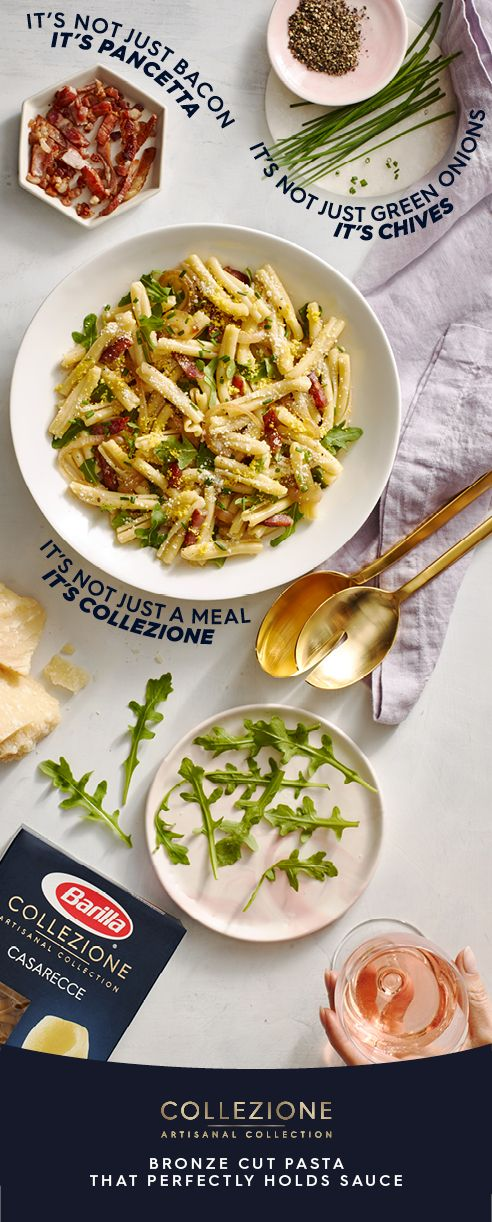 Create a dinner to remember with bronze cut Collezione Casarecce. Grated egg yolk, crispy pancetta, fresh arugula and chives are combined with perfectly al dente pasta for an elegant, crowd-pleasing meal. #CookingwithCollezione #Barilla