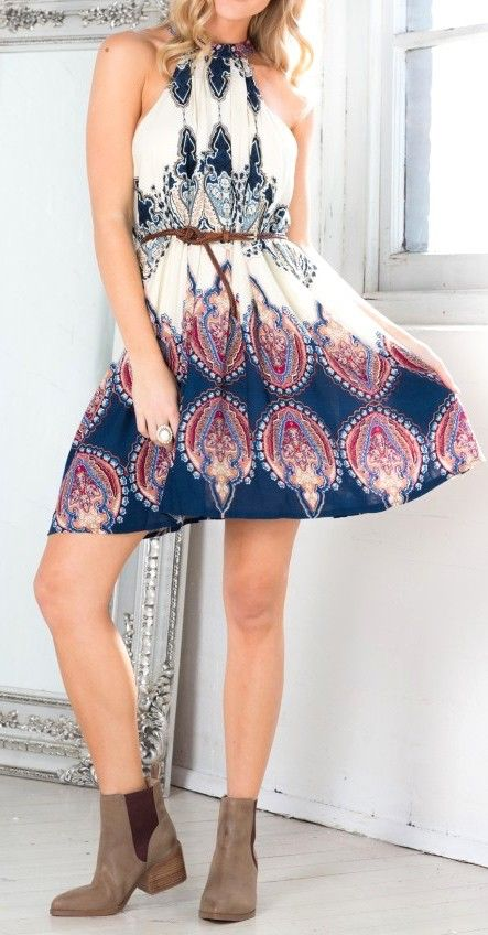 White sleeveless tribal print dress