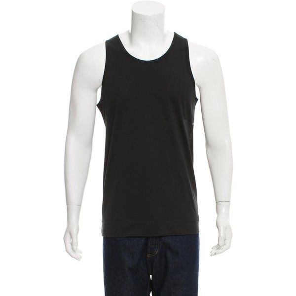 Pre-owned Y-3 x Adidas Sleeveless Logo-Printed T-Shirt ($45) ❤ liked on Polyvore featuring men's fashion, men's clothing, men's shirts, men's t-shirts, black, mens sleeveless t shirts, mens leopard print t shirt, mens patterned shirts, men's sleeveless tee shirts and mens t shirts