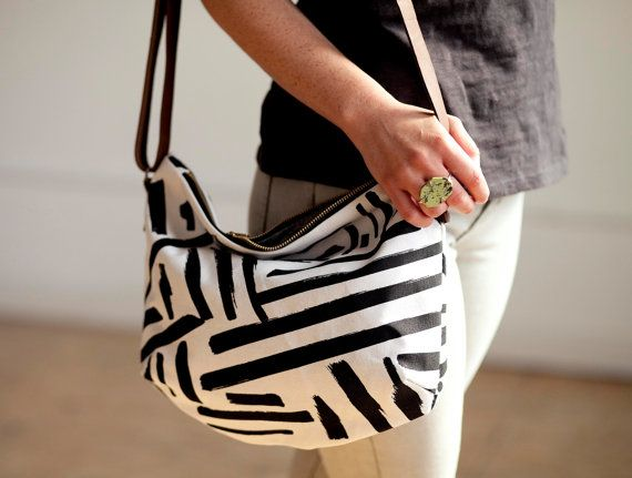 PRE-ORDER Black & White Marks Crossbody by londontierney on Etsy