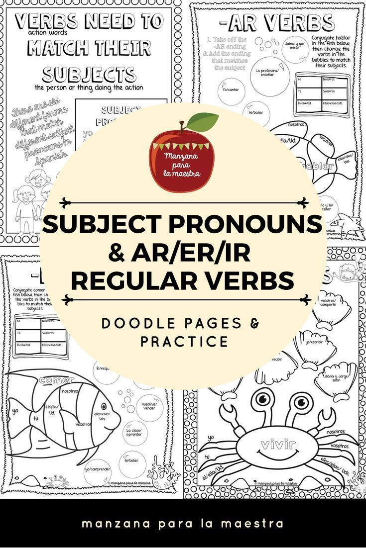Engage Your Students With These Ar Er And Ir Regular Verb And Subject Pronoun Doodle Notes For The Beginner Sp Learning Spanish Doodle Pages Spanish Classroom