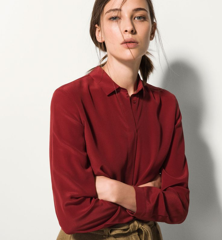 CAMISA VESTIR 100% SEDA - Lisas - Camisas y Blusas - WOMEN - México - Massimo Dutti