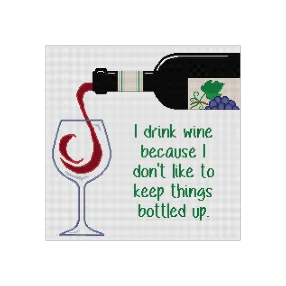 Cross Stitch Pattern - Funny Quote Cross Stitch - Funny Cross Stitch Wine Bottle Pattern by Cowbell Cross Stitch Instant Download PDF