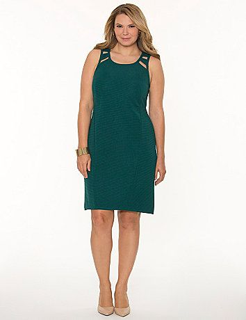 The flattering sheath dress is a wardrobe staple, and we've given ours a little sass with cut-out shoulders and an exposed back zipper. #LaneBryant
