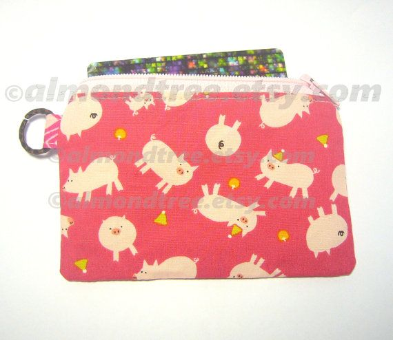 Pig credit card holder small zipper pouch coin purse by https://www.etsy.com/sg-en/shop/AlmondTree, #purse, #coinpurse, #cardholder, #womenwallet #purse #wallet #pig #etsy #sewing #handmade