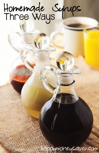 Three homemade syrup recipe favorites! Maple, buttermilk, and strawberry - all frugally homemade and fantastic on pancakes, waffles, and crepes!