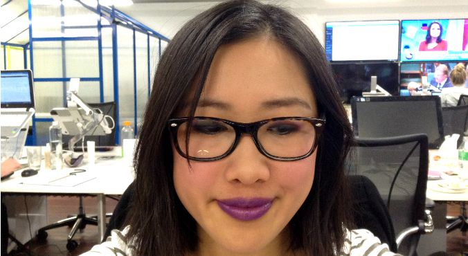 How to wear purple: Carla GS wears Urban Decay Afterglow 8-Hour Powder Blush in Bittersweet as a lip colour. Source: Supplied.