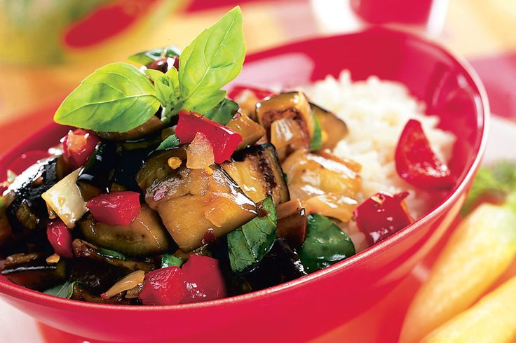 Thai Spicy Eggplant with Sweet Basil. This home-cooked meal probably contains less fat and fewer calories than most carry-outs, and preparing it takes no longer than a pick-up trip to a restaurant. Adapted from Rachael Ray's 30-Minute Meals Veggie Meals.