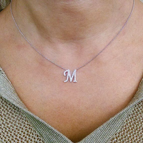 14kt. Gold Diamond Initial Necklace Personalized by MonogramsNYC