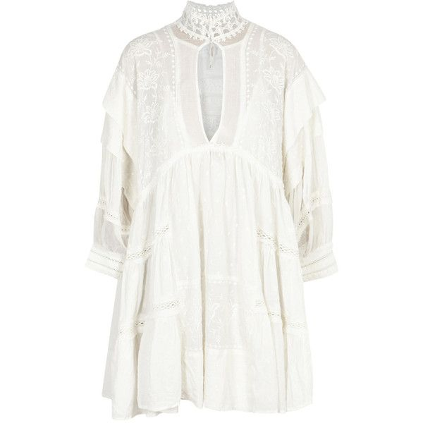 Free People Heart Breaker Embroidered Mini Dress ($280) ❤ liked on Polyvore featuring dresses, white dress, white embroidered dress, white slip dress, short white dresses and free people slip