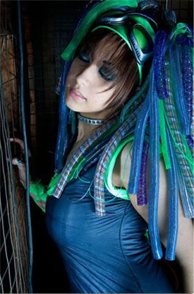 Leah all blued and greened up for her Cyber-Goth outfit. Lovely.