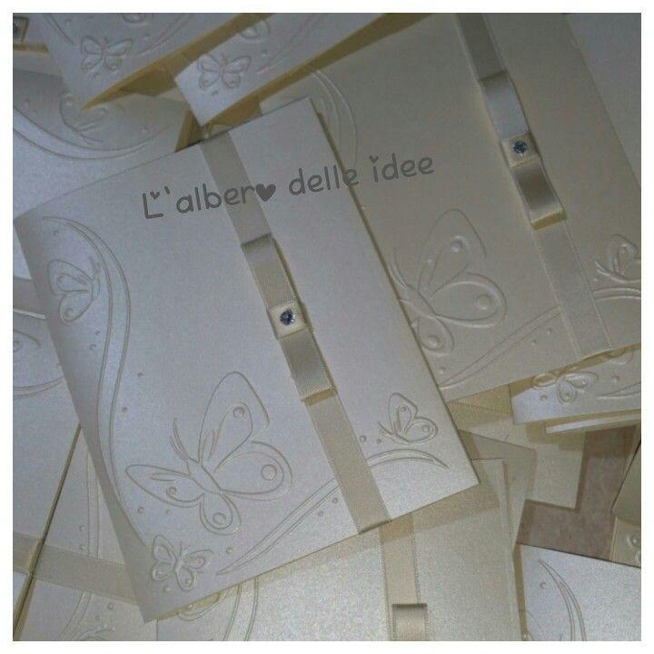 Partecipazioni in carta perlata avorio