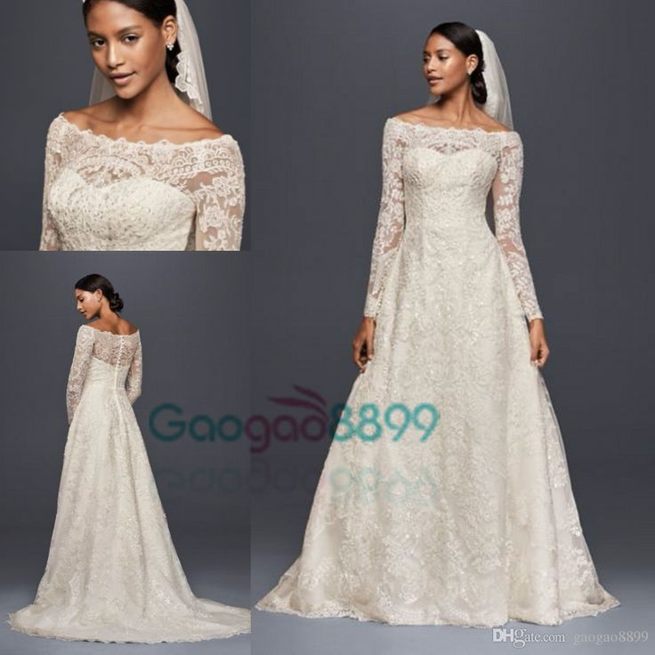 2017 Oleg Cassini Modest Vintage Wedding Dresses With Long Sleeves Lace Applique Off Shoulder Garden Outdoor Plus Size Bridal Gowns Bridal Wedding Dress Buy Wedding Dresses From Gaogao8899, $157.79| Dhgate.Com
