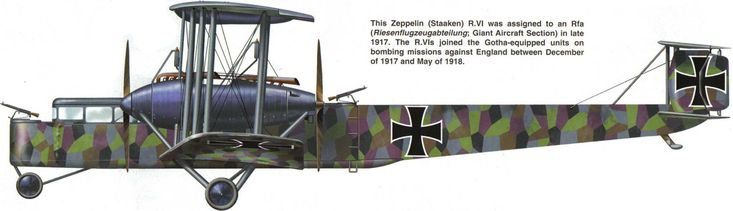 Zeppelin-Staaken R.VI Unit: Rfa Serial: R.180/17 This Zeppelin-Staaken R.VI was assigned to an Rfa (Riesenflugzeugabteilung - Giant Aircraft...