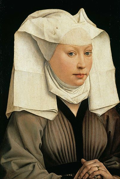"""""""Portrait of a Young Woman with a Winged Bonnet"""", c. 1435, by Rogier van der Weyden (Early Flemish, 1399/1400-1464)"""