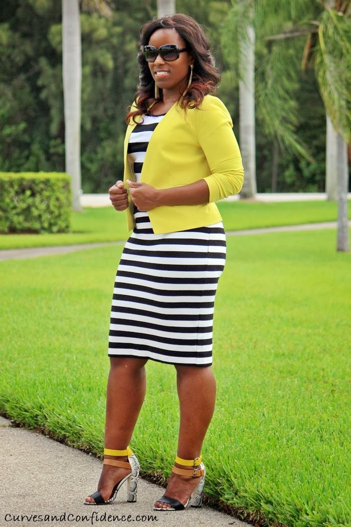 Curves and Confidence | Inspiring Curvy Fashionistas One Outfit At A Time: Work It!: Striped Pencil Skirt