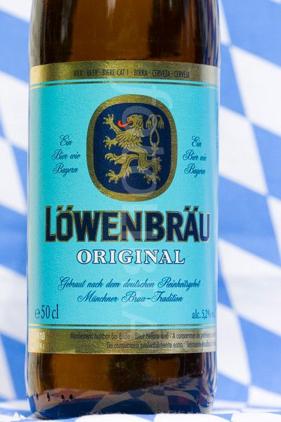 Lowenbrau beer bottle close up of label.