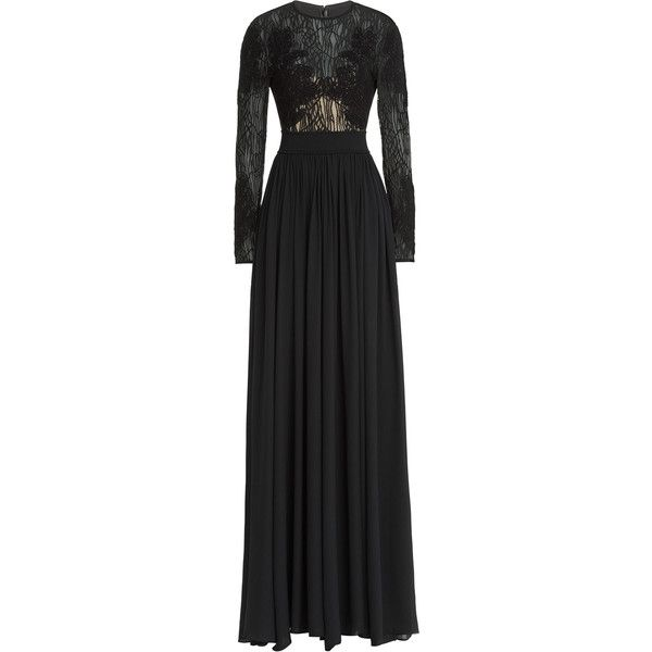 Elie Saab Embroidered Floor Length Gown ($3,140) ❤ liked on Polyvore featuring dresses, gowns, black, black evening dresses, black dress, floor length evening dresses, special occasion dresses and evening gowns
